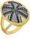 Freida Rothman Black Stone Stripe Cocktail Ring, Size 7