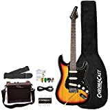 Sawtooth 6 String ES Series ST Style Electric Guitar Beginner's Pack, Sunburst with Black Pickguard, SBB-BEG
