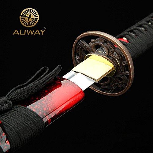 "Auway 40"" Orchid Tsuba Fully Handmade High Carbon Steel Full Tang Blade Real Japanese Katana Samurai Swords"