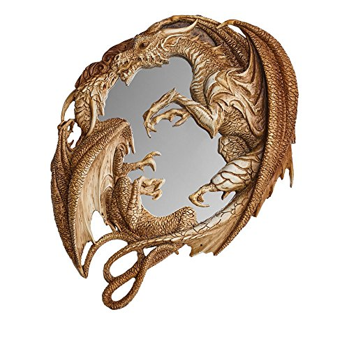 Home Décor Wall Mounted Mirror Twin Dragons Medieval Magical Morgan's Looking Glass