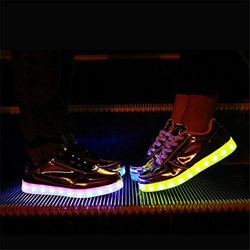 Baha Mut Led Zapatos Carga Usb Light Up Glow Zapatos Hombres Mujeres Moda Par Parpadeante Luminoso Zapatos Deportivos Gold