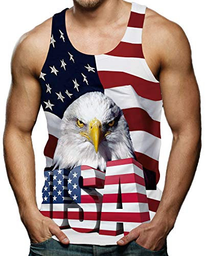 American Flag Tank Top - RAISEVERN Print Tank Top for Men Workout Sleeveless Shirt Cool Patriotic American Flag 4th of July Independence Day Graphic Tees L