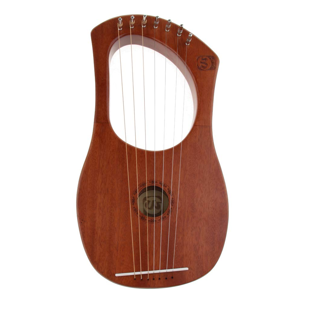 Flameer 7 String Harp with Carry Bag Mahogany Body Musical String Instrument by Flameer