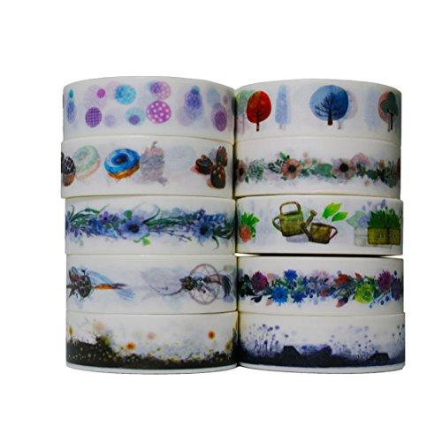10pcs 10m Colorful Washi Tape DIY Adhesive Paper Sticker 1.5cm - 8