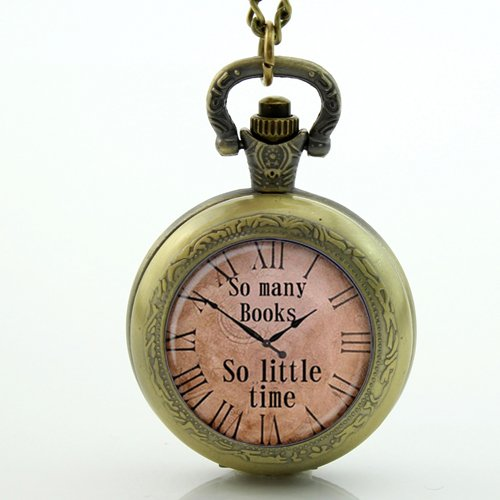 So Many Books So Little Time Watchメモリロケットネックレスアンティークポケット時計ネックレス B071L1FKHS