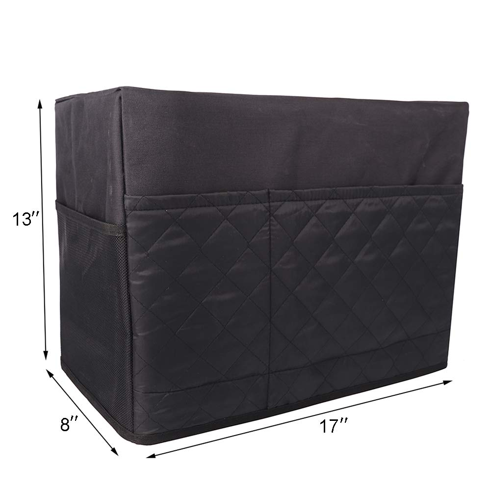 """Wide Usage Size 17/""""Lx8/""""Wx13/""""H Black Sewing Machine Cover Fits for Most Standard Singer and Brother Machines Sewing Machine Dust Case with 4 Spacious Storage Pockets"""