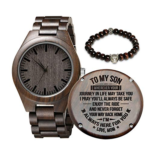 Engraved Wooden Watch for Son and Boyfriend,Personalized Wood Watch Gift for Boyfriend, Graduation Gift from Mom, from Dad (Mom to Son)
