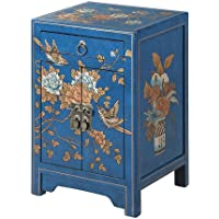 Convenience Concepts Touch of Asia 1-Drawer Cabinet End Table, Blue