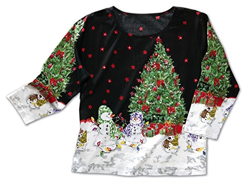 Women's Christmas Tree Sequined Holiday Top
