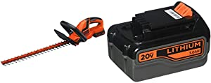 BLACK+DECKER 20V MAX Cordless Hedge Trimmer with Extra Lithium Battery 3.0 Amp Hour (LHT2220 & LB2X3020-OPE)