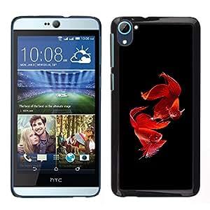 LECELL--Funda protectora / Cubierta / Piel For HTC Desire D826 -- amor san valentín pez mascota negro tropical --