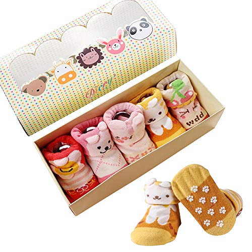 Dicry 5 Pairs Baby Girl Non Skid Socks Set with Cartoon Animal for 6-18 Months Toddler