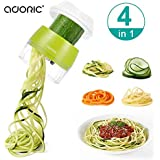 Handheld Spiralizer Vegetable Slicer, Adoric 4 in 1 Heavy Duty Veggie Spiral Cutter - Zoodle Pasta Spaghetti Maker for Low Carb/Paleo/Gluten-Free Meals