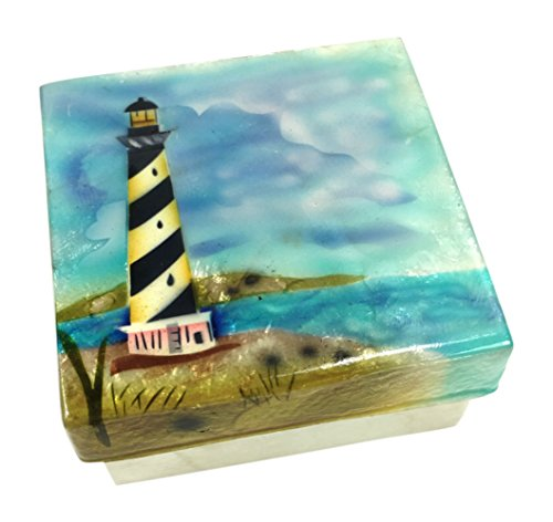 Kubla Craft Black and White Lighthouse Capiz Shell Keepsake Box, 3 Inches Square