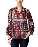 Style & Co. Petite Patchwork-Print Top (Red Combo, PXL/Petite X-Large)