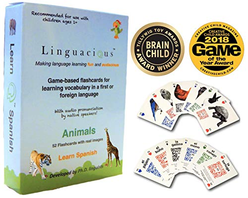 Linguacious Award-Winning Learn Spanish Animals Flashcard Game for Kids - with Audio by Native Speaker!