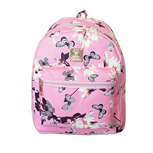 Pink2 Studded Mini Travel Faux Backpack Backpack Leather Floral Purse Casual Girl's ABage wROqxaPw
