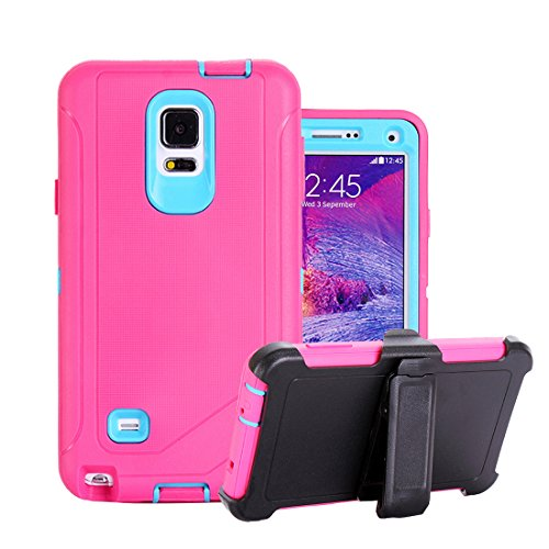Galaxy Note 4 Holster Case, Harsel® Defender Series Heavy Duty Shockproof Impact Dustproof Full Body Military Protective with Belt Clip Built-in Screen Protector Case for Galaxy Note 4 - Rose Blue