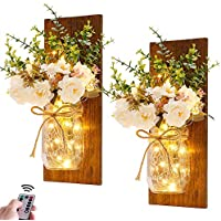 Homecor Rustic Wall Mason Jar Sconces Handmade Art Hanging Design with Remote Control LED Fairy Lights and White Peony