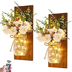 Rustic Wall Sconces Mason Jar Sconces Handmade Wall Art Hanging Design with Remote Control LED Fairy Lights and White…