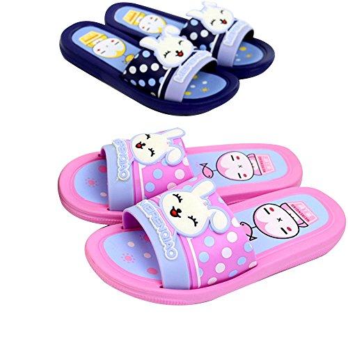 IUU Cute Little Kids Bath Slippers Non-Slip Slippers EVA House Slippers Beach Flip-Flops (Blue,Pink)