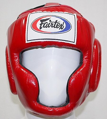 Bangplee_Sport Fairtex HG3 Full Coverage Style Head Guard - Protective for Boxing, Kick Boxing, Muay Thai, MMA, K1 (Red, S(Kids))