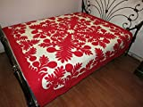 Hawaiian Quilt Bedspread King Size 110x105 w/2 pillow shams hand quilted/hand appliqued