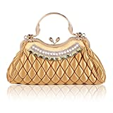 Damara Womens Kiss-lock Handbag Stitching Latticed Evening Bag,Gold