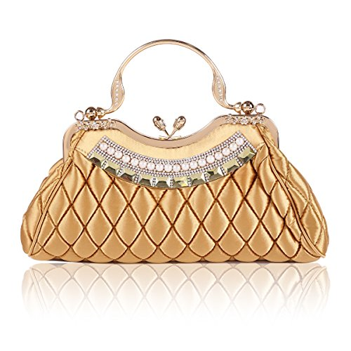 Damara Womens Kiss-lock Handbag Stitching Latticed Evening Bag,Gold by Damara