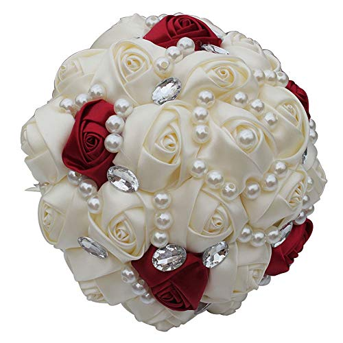 Limaomao Holding Flowers Bridal Bouquet Handmade Wedding Rhinestone Satin Rose Flower with Artificial Pearls Decorated for Bride Wedding Supplies Bridesmaid Holding Flowers (Color : Red, Size : 21cm)