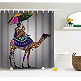 """A.Monamour Traditional African Girl Sitting On Camel Tribal Art Colorful Geometric Art Design Print Waterproof Mildew Resistant Fabric Shower Curtain For Home Decorations 180x200 cm / 72"""" X78"""""""