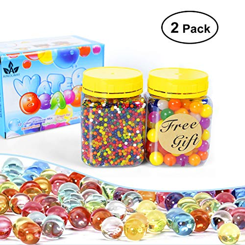 AINOLWAY Water Beads Pack Rainbow Mix for Orbies Spa Refill, Kid Sensory Toys and Vase D