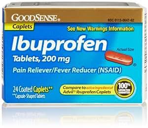 GoodSense Ibuprofen Pain Reliever/Fever Reducer, 200 mg Caplets, 24 Count