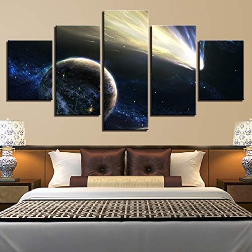 (Kkxdp Framed Hd Printed Pictures Living Room Wall Art 5 Pieces Cosmos Abstract Planet Light Canvas Painting Modular Home Decor Earth Poster-B)