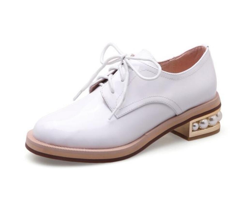 Zapatos de mujer Charol Pearl Heel Suela Oxford Cordones Tamaño 36 a 41 , Blanco , EU38 EU38|Blanco