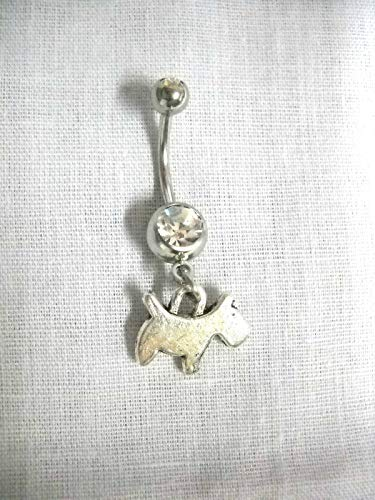 Profile Terrier - Scotty Puppy Dog Animal Charm ON 14g DBL Clear Navel Ring ()