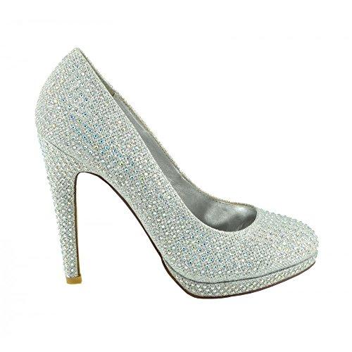 Partie chaussures Diamante de la Bal bridemaid chaussures chaussures chaussures Argent de Femme Paillettes Maille cour la de qO5ExxRdw