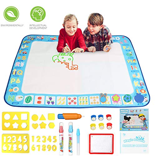 Drawing Mat for Kids Great Gift Toys for Kids Magic Water Doodle Mat 4 Colors Water Painting Mats Baby Educational Toys for Toddlers Age 2 3 4 5 6 Reusable Lightweight Mat Large Size40x30In(Foldable) - Great Educational Toy