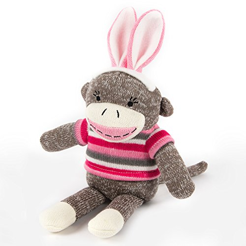 HollyHOME Super Soft Stuffed Animal Sock Monkey Plush toy 12 inches Gray