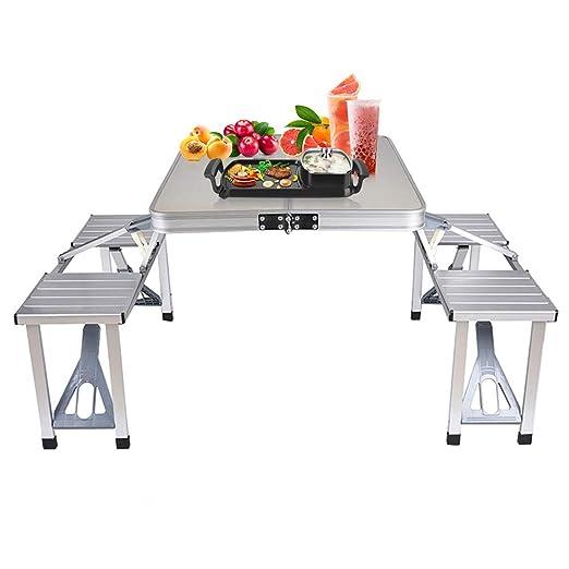 Bartonisen Mesa de picnic plegable de aluminio mesa de viaje mesa ...