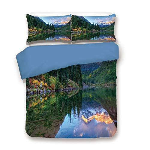 - Duvet Cover Set Twin Size, Decorative 3 Piece Bedding Set with 2 Pillow Shams, Reflection of Snowcapped Maroon Bells in Fall at Sunrise Panoramic Picture Print