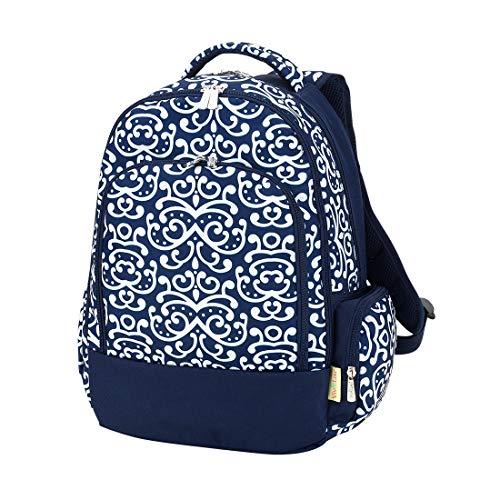 Dani Navy Blue Damask 17 x 12 Polyester Fabric Basic Multipurpose Backpack