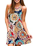 Women's Summer Sleeveless Damask Tunic Top Casual Floral Print T-Shirt Midi Dress with Pocket for Legging (Small, Geometric)
