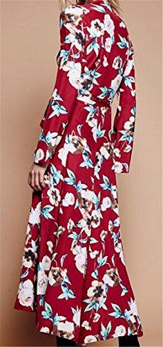 Jaycargogo Des Femmes De Batik Impression Profonde Col V Manches Longues Rouge Robe Maxi