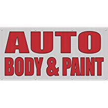 Auto Body & Paint Auto Body Shop Car Repair MESH Windproof Fence Banner Sign 8' X 4' /W 8 Grommets