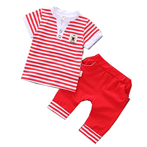 FTSUCQ Baby Boys/Girls Striped Short Sleeve Shirt Top + Shorts,Red 100