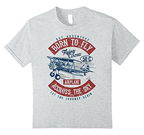 Kids Born to Fly Best Gift 4 Pilot Aviation Love Fly Planes Shirt 10 Heather Grey (Born Fly Clothing For Boys)