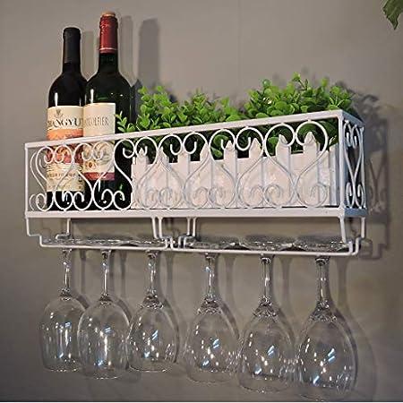 TJ Estante para Vino montado en la Pared Estante de Metal de Hierro Arte Estante de Pared Estante de Vino Retro Soporte de Vidrio de Stemware Estante de decoración de Pared (Color : C)