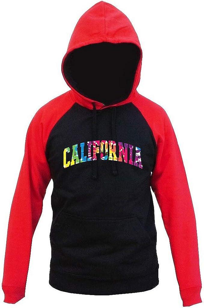 Interstate Apparel Mens Tie Dye California Black//Red Raglan Baseball Hoodie Sweater Black