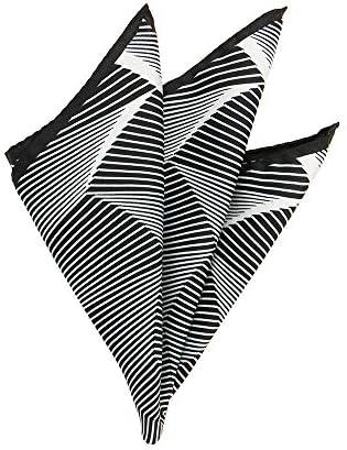 (ザ・スーツカンパニー) MADE IN ITALY/ジオメトリック柄シルクポケットチーフ ブラック×ホワイト